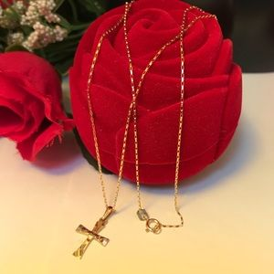 Jewelry - 18K Real Gold Cross Necklace